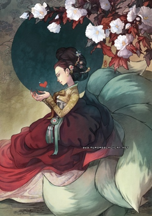 This is not fanart of Nara, but it's an illustration of a gumiho (nine-tailed fox) wearing hanbok (traditional Korean clothing), so I thought it made a fitting picture to represent Nara's character. The art is by Aurore at http://auroreblackcat.net/