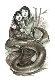 This image was used on pre-order giveaways and shows Skybright (right, with the tail), and Zhen Ni (left) as illustrated by Grace Fong (@fictograph on Twitter, http://gracepfong.com/)