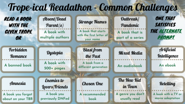 Trope-ical Readathon Common Challenges